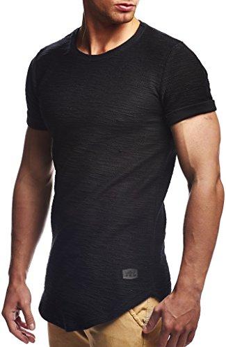 Leif Nelson Herren Sommer T-Shirt Rundhals-Ausschnitt Slim Fit Baumwolle-Anteil Moderner Männer T-Shirt Crew Neck Hoodie-Sweatshirt Kurzarm lang LN6324 Schwarz L