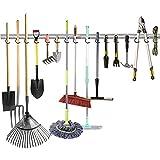 WALMANN All Metal 64 Inch Wall Mount Garage Garden Tool Organizer, Mop and Broom Holder, Yard Tool...