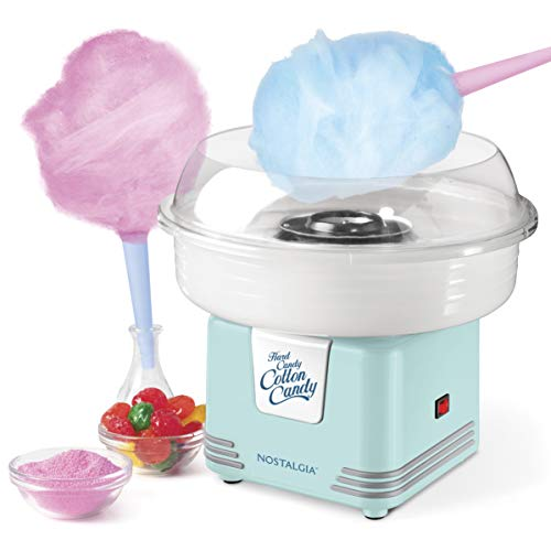Nostalgia Retro Hard and Sugar Free Countertop Original Cotton Candy Maker, Includes 2 Reusable Cones and Scoop – Aqua