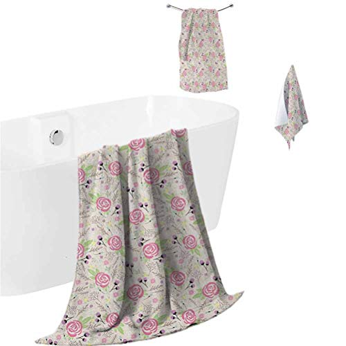 Floral Microfiber Hair Towel Artistic Composition with Rose Blooms Flower Buds Lively Summer Dahlia Ornaments (1 Bath Towel + 1 Hand Towel + 1 Washcloth) Multicolor