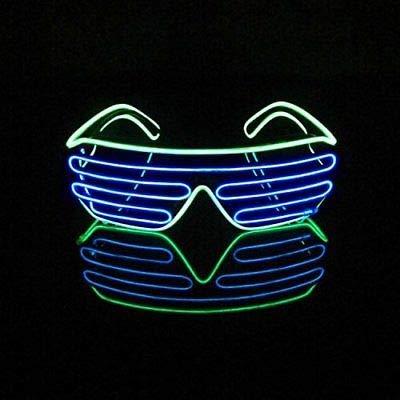 Sxspace Brillen Zwei Farben EL Neon Draht Brille LED Partybrille Soundsteuerung Sonnenbrille Halloween Weihnachtsdekoration Neujahr Geburtstag Club Bar Disco Kostüm (Blau + Hellgrün)
