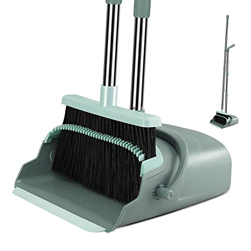 Kelamayi Broom Dustpan Combo Set Standing Dustpan Broom with Stainless Long Handle 44.5'-55.9' Sweep Set Broom Dustpan Set Upright for Home Kitchen Room Office Lobby Floor Cleaning