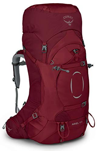 Osprey Ariel 65 Mochila de Mujer para excursiones, Rojo (Claret Red), Talla XS/S