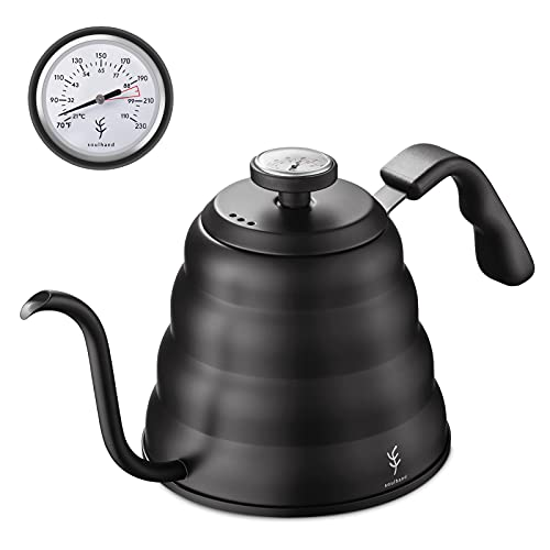 Soulhand Pour Over Gooseneck Water Kettle with Thermometer, Drip Brew Coffee Kettle Tea Pot with 3 Layered Stainless Steel Bottom for Electric Induction Gas Stovetop - 1.2L / 40oz