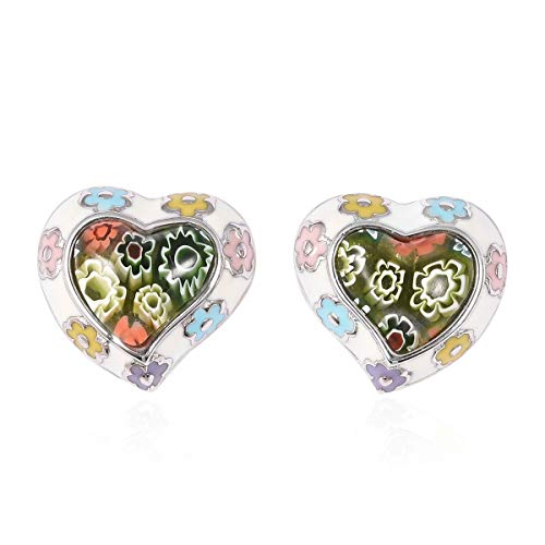 Multi Color Stud Solitaire Earrings Stainless Steel Valentine Heart Murano Millefiori Glass Fashion Jewelry for Women Mothers Day Gifts