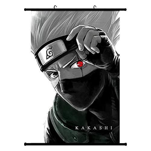 Naruto Poster,Hilloly Anime Naruto Kakashi Pintura Colgante,Naruto Poster Wall Scroll Anime Naruto Póster de Pared Cuadro de Pintura Lienzo Colgante Pintura de Desplazamiento Home Wall Print,40x60cm