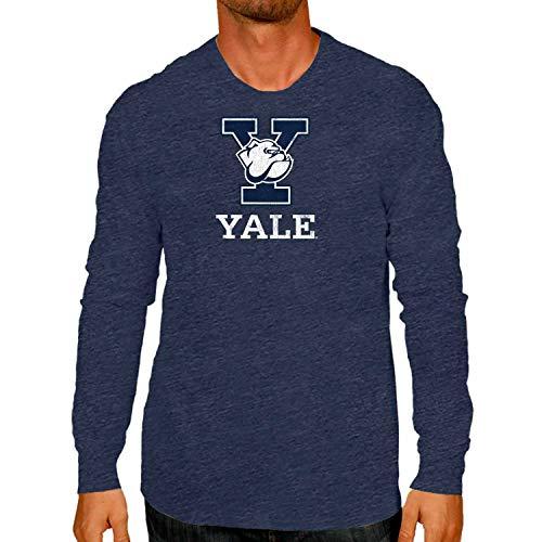Campus Colors NCAA Adult MVP Heathered Logo Long-Sleeve Shirt (Yale Bulldogs - Navy, Medium)
