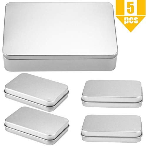 Newbested 5 Pack Rectangular Empty Tin Box Containers with Lids,One Large Silver Metal Tin Box(8.5'x5.3'x1.9'),4 Mini Small Silver Empty Tins Container for Gift Jewelry Craft Storage Organizer