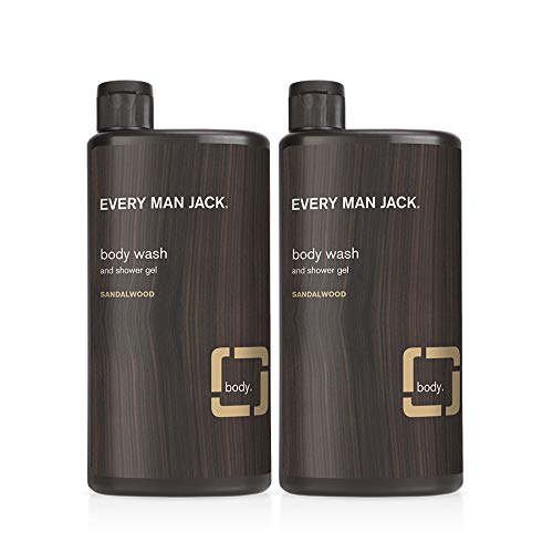 Every Man Jack Men's Body Wash Twin Pack - Sandalwood   16.9-ounce - 2 Bottles Included   Naturally Derived, Parabens-free, Dye-free, and Certified Cruelty Free