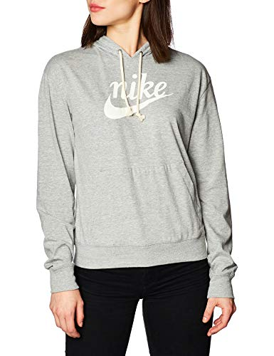 Nike Damen Sweatshirt W NSW Gym VNTG Hoodie HBR, dk Grey Heather/(sail), XL, CJ1691