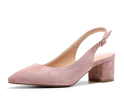 CASTAMERE Zapatos de tacón Clásicos Zapatos Mujer Tacón Fiesta Sandalias de Tacón Bajo para Mujer 5 CM Ante Rosa EU 44