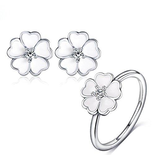 AnazoZ Damessieradenset, oorbellen ring hart bloem, 18 k witgoud verguld zirkonia kristallen hanger voor vrouwen met geschenkdoos