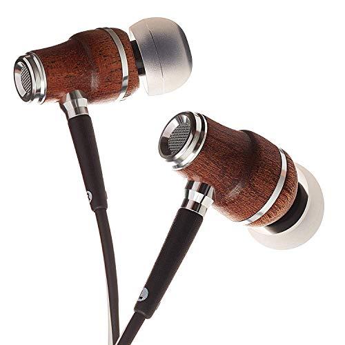 Symphonized NRG X Sapele Premium IN Ear KOPFHÖRER Ohrhörer aus edlem Holz, Mikrofon und Lautstärkeregler - Geräuschisolierende Ohrstöpsel für Zuhause und Unterwegs (Schwarz-Weiss)