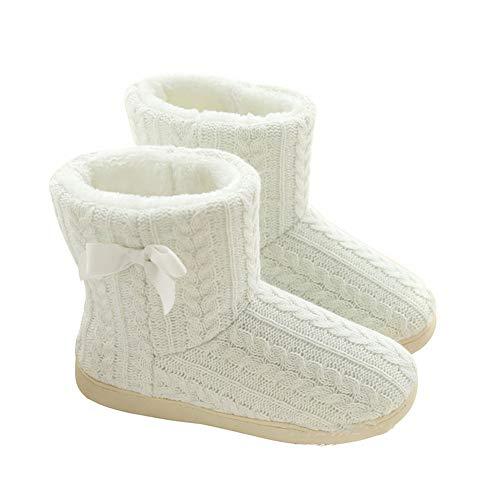[ムニャムニャ] 北欧 ルーム シューズ かわいい 暖か もこもこ スリッパ 冬用 防寒 足首 ボア ブーツ (編みレースホワイト, measurement_24_point_0_centimeters)