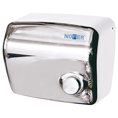 Nofer 01250.b Kai Secador de Manos con botón pulsador (Acero Inoxidable Brillante Plata 30x 26x 18cm)