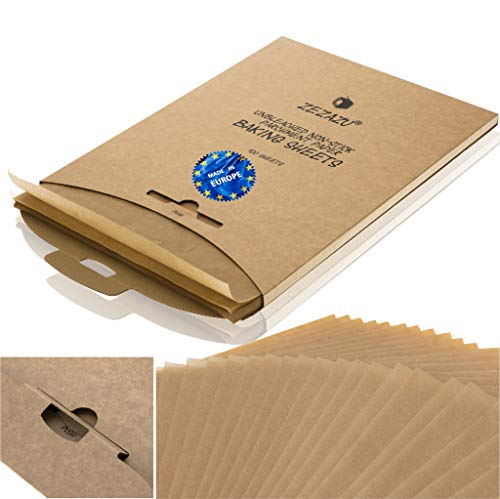 ZeZaZu Parchment Paper Sheets for Baking - MADE IN EUROPE - Precut 12x16 inch (125 Sheets) -RECLOSABLE PACK- Exact Fit for Half-Sheet Baking Pans, Unbleached, Non-stick, Dual-Sided Siliconized Coating