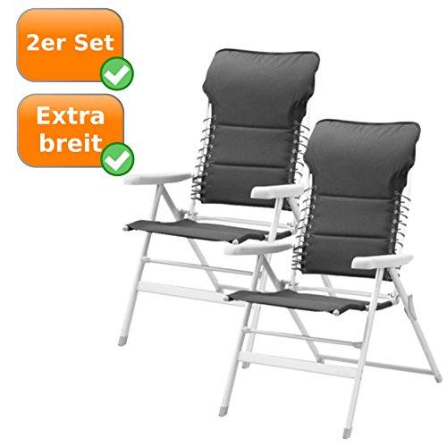 Uitstekende comfortabele en gevoerde campingstoel, tuinstoel, ligstoel, extra hoog met geïntegreerd hoofdkussen.
