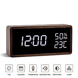 FIBISONIC Digital Alarm Clock, Wooden Table Clock with Adjustable Brightness Voice Control Large Display