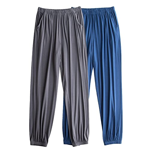 XYSQWZ Pantalones De Pijama De Seda De Hielo 100% para Hombre Pantalones De SalóN Pantalones De Ropa De SalóN Suaves Pantalones De Casa con Bolsillos