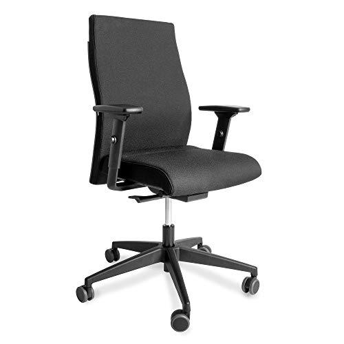 Interstuhl Bürostuhl Drehstuhl 139RS | Business-Stuhl Home-Office-Stuhl Schreibtischstuhl mit Ergonomie: Sitzhöhen- u. Sitztiefenverstellung, Lordosenstütze u.v.m. | Polsterstuhl schwarz