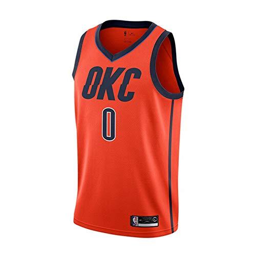 Maglia da Basket NBA Thunder # 0 Westbrook City Edition Uomo OKC Rockets all-Star Abbigliamento da Allenamento,Orange(0)-XXL
