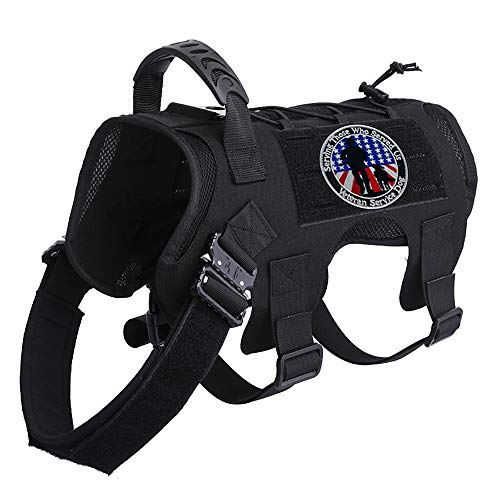 Tactical Dog Harness Vest with Metal Buckle,Dog Walking Training Vest with Handle,Hook and Loop for Dog Patch, Training Vest with Free Veteran Patch(Black)