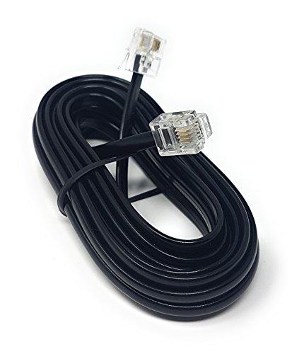 MainCore, Langes, schwarzes, flaches ADSL-Hochgeschwindigkeits-Breitbandmodem-Kabel, RJ11auf RJ11(erhältlich in 1m, 2m, 3m, 5m, 10m, 15m, 20m, 30m) 3m Schwarz