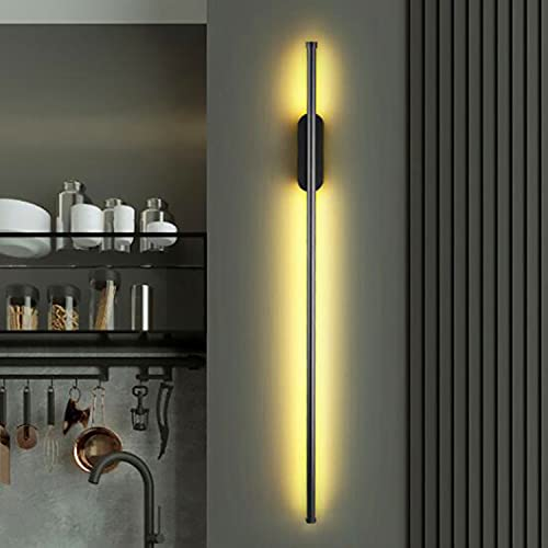 Aplique de pared LED Interiores 100cm Lámpara de pared tira larga 15W Moderno Simplicidad Línea Iluminación de pared para Dormitorio Sala Pasillo [Clase energética A +](Size:Cuadrado,Color:Negro)