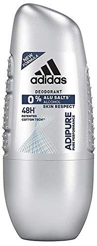 adidas adipure Deo Roll-on für Herren – Deodorant ohne Aluminium & Alkohol für 48h effektiven Deo-Schutz – pH-hautfreundlich – 4er Pack (4 x 50 ml)