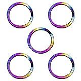 CLAN チタン製キーリングセット 軽量で錆びないキーリング (直径25mm 内径20mm 5点セット, 虹色)