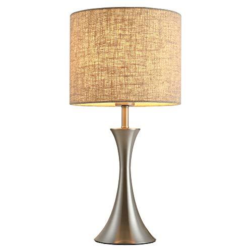 homcom Lampada da Tavolo Comodino Design Metallo e Tessuto, Illuminazione Interni Soggiorno, Sala, Ufficio, Attacco E27, Beige