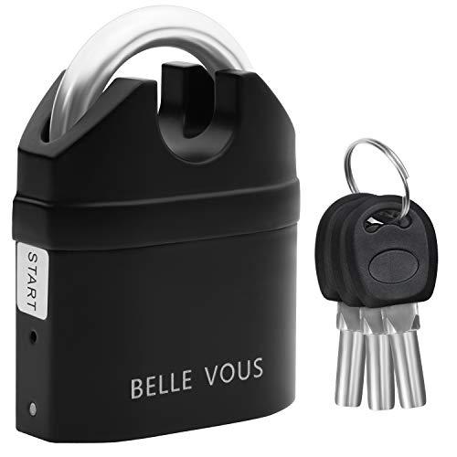 Belle Vous Candado con Alarma 110db Antirrobo Candado Seguridad Negro con 3...