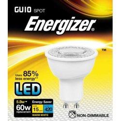 Energizer Ampoule LED à économie d'énergie Blanc chaud GU10 5 W 3000 K, Plastique, Blanc chaud/blanc, 5.8W, GU10