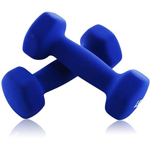 LUSTAR Mancuernas Hexagonales de Neopreno Un Par, Azul 0.5KG 1KG 1.5KG 2KG 3KG 4KG 5KG para Levantamiento de Pesas de Fitness,Blue-(4KG*2)