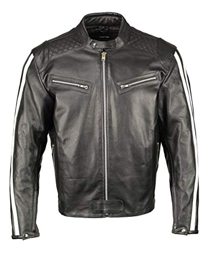 M Boss Motorcycle Apparel BOS11508 Mens Black and White Armored Leather Jacket with Racing Stripes - Medium