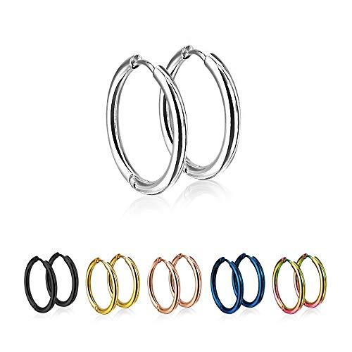 Treuheld® | Runde Creolen/Ohrringe aus medizinischem Edelstahl | 10mm | Silber | Schmale Klappcreolen für Damen und Herren | Set/Paar