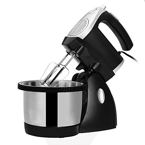 BCXGS Batidora Amasadora, Amasadora de Pan Repostería, 500 W 3 L Robot de Cocina Multifunción, Potente y Silencioso, Cuerpo Metálico, 5 Velocidades, Amasador, Batidor y Varillas, Color Negro