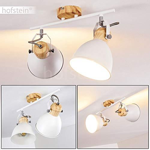 Deckenleuchte Banjul, Deckenlampe aus Metall in Weiß/Holzoptik, 2-flammig, mit verstellbaren Strahlern, 2 x E27-Fassung max. 40 Watt, Spot im Retro/Vintage Design, für LED Leuchtmittel geeignet