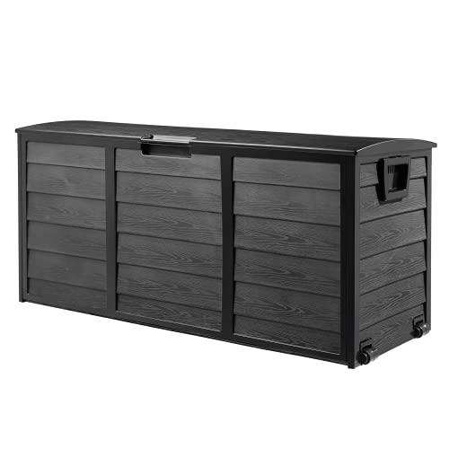 FIXKIT Arcón Exterior, Baúl Exterior para Jardín, Terraza Piscina o Balcón, 112*49*54cm, Capacidad de 290L, con Asas y Ruedas, Impermeable, Color Negro