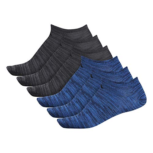 adidas Men's Superlite No Show Socks (6-Pack), Collegiate Navy/True Blue Space Dye/Black Black, XL (Shoe Size 12-16)