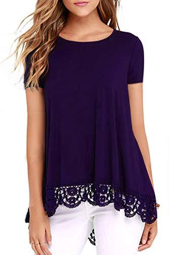 Odosalii Damen Langarm T-Shirt Pullover Rundhals Spitze Tunika Top Asymmetrisch Saum Oberteil Bluse Shirt (S-Lila, XL)