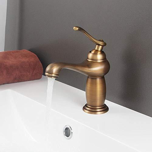 Grifo Lavabo Grifo Baño Baño grifo del final del bronce de latón antiguo grifo del lavabo del fregadero sola manija grifo monomando de agua El agua del grifo-1 (Color : 1)