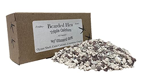 Bearded Hen - Triple Calcium w/Gizzard Grit - All Natural Crushed Oyster Shell, Limestone, Coral Calcium, Granite - Egg Laying Hen Supplement, Wild Turkey, Game Bird, Duck, Chicken (3 Pounds)