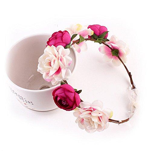 Yuccer Blumen Stirnband Mädchen, Böhmen Blumen Haarband für Damen Haarkranz Blumen für Hochzeit Festival Strand (Rose rot)