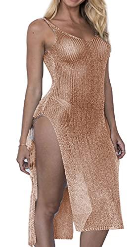 JFAN Vestidos Verano de Malla para Mujer Ropa de Playa Larga con Abertura Lateral Vestido sin Mangas con Cuello en V