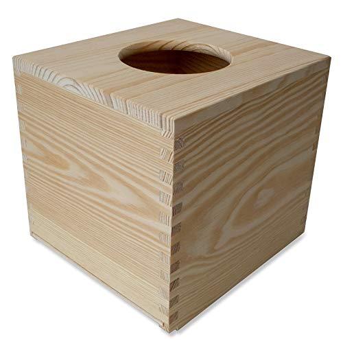 Creative Deco Quadratische Kosmetiktücher-Box aus Kiefern-Holz| 13 x 14,5 x 14 cm | Ideale Taschentuch-Box für Taschentücher | Perfekte Kosmetiktuch-Spender für Decoupage, Dekoration und Lagerung