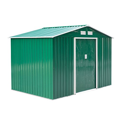 Outsunny 9 x 6FT Outdoor Garden Roofed Metal Storage Shed Tool Box with Foundation Ventilation & Doors Green
