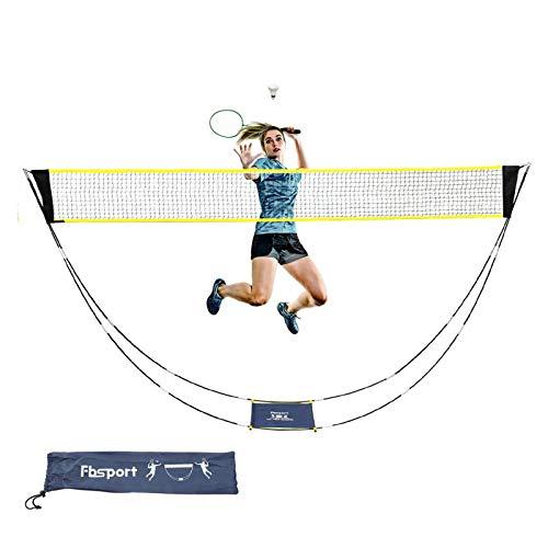 FBSPORT Badmintonnetz, faltbar, tragbar, verstellbar, 3 m, Badmintonnetz für Garten, Volleyballnetz für Outdoor-und Indoor-Sport, einfach aufzubauendes Netz mit Tragetasche