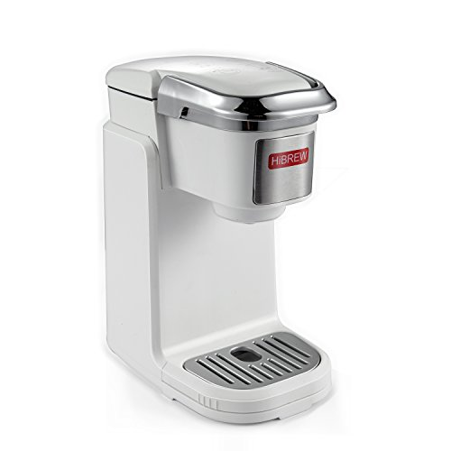 HiBREW Single Serve White Compact Portable Travel Size K Cup Coffee Maker Brewing...