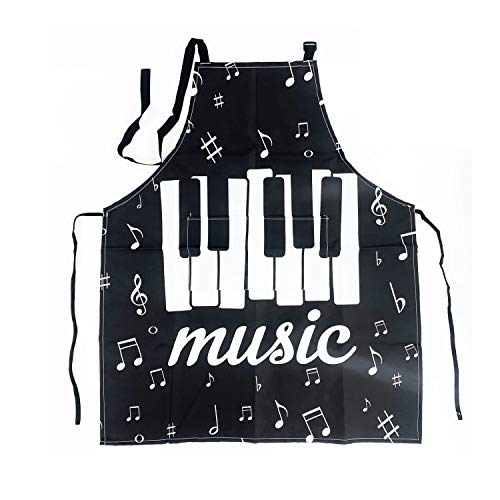 Music Notes Piano Key Black Cooking Chef Apron With 2 Pocket Adjustable Bib Waterproof Kitchen Apron Cosplay Apron
